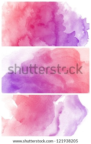 Set of colorful various Abstract watercolor art background hand paint