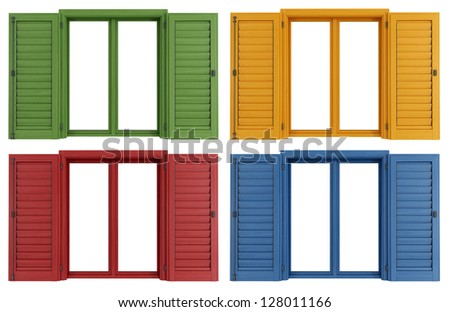 Set of colorful windows isolated on white - rendering
