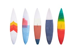 Set of colorful wooden vintage Surfboard isolated on white background with clipping path