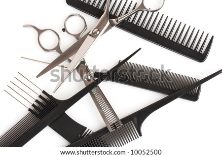 stock photo : set of combs and scissors, hairstyle accessories