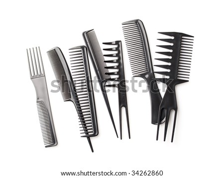 stock photo : set of combs, hairstyle accessories