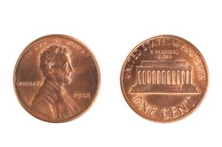 Set of commemorative the USA coin, the nominal value of 1 cent, from 1988. Isolate on white background