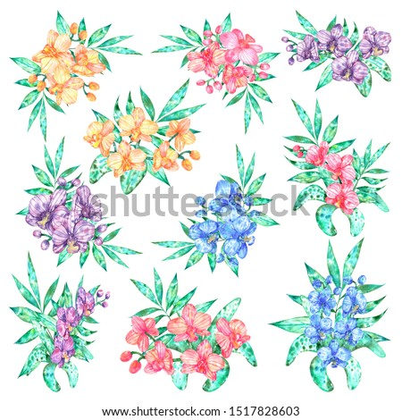 Set of compositions, orchid flowers blue, purple, pink, yellow tropical leaves, nature. Watercolor botanical illustration. Isolated background, elemen, composition for design.