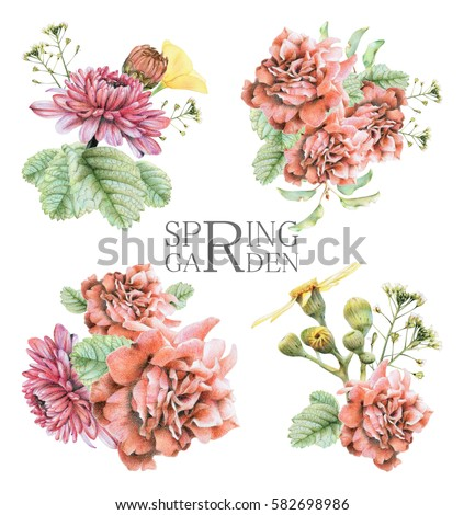 Set of compositions with spring flowers and plants drawn by hand with crayons. Painted by hand with colored pencils illustration isolated on white background. Romantic vintage style #582698986