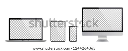 Set of computer, laptop in a flat vector style #1244264065