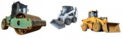 Set of construction equipment for road works: Soil Compactor, Wheel loader ad Skid steer loader. Construction machinery for earthwork at a construction site