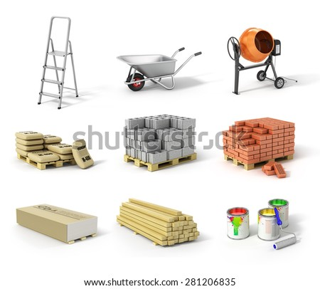 Set of construction material. Ladder, wheel, concrete mixer, cement, bricks, gypsum, beams and paint.