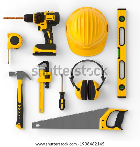 Set of construction tools for repair and installation on white background. 3d rendering and illustration of service banner for house plumber or repairman Foto stock ©