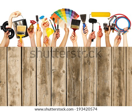 ShutterStock Set of construction tools House renovation background ...