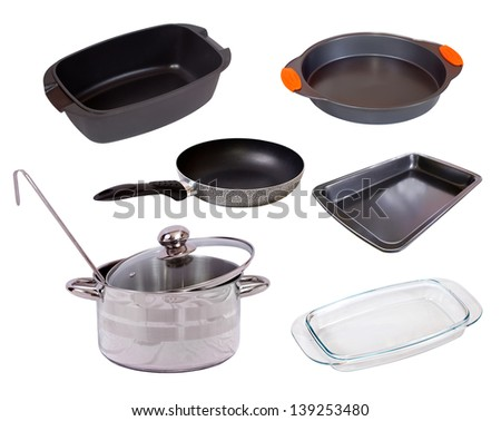 Set of cook pan. Isolated on white background