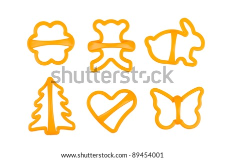 set of cookie cutters isolated on white
