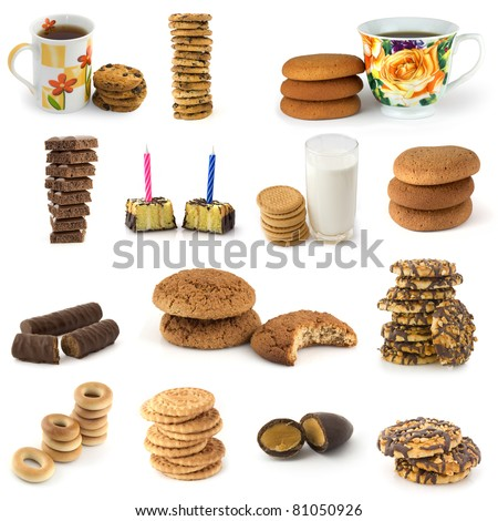 Set of cookies and candies  on white background