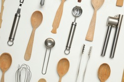 Set of cooking utensils on white background, flat lay
