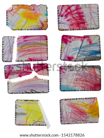 set of cool teared paper stickers isolated on white background with colourful crayon scribbling texture