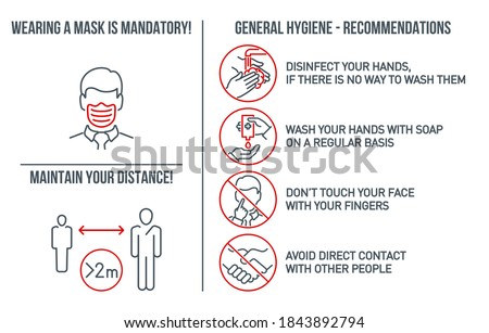 Set of CoronaVirus COVID19 Safety Measures and Precautions Signs. How to Protect Yourself. Infographics Poster Suitable for Print. Prevention, hygiene, distance and Wearing a mask is mandatory banner