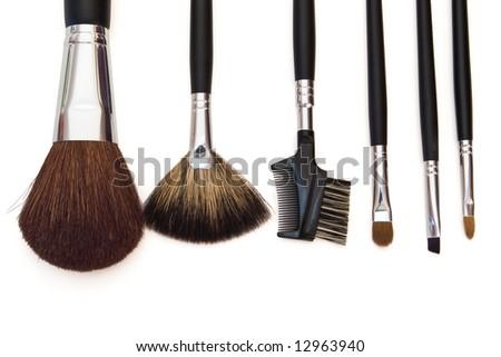 set of cosmetic brushes isolated on white background