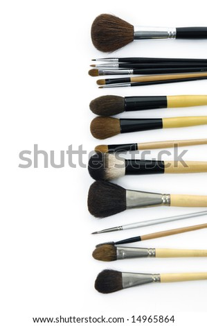 Set of cosmetic brushes isolated on white background