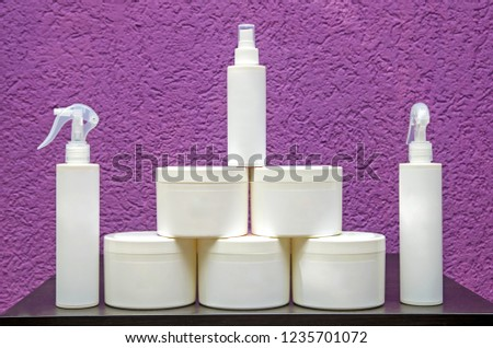 Set of cosmetic containers. Cosmetic product bottles, dispensers, droppers, jars and tubes #1235701072
