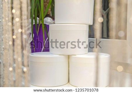 Set of cosmetic containers. Cosmetic product bottles, dispensers, droppers, jars and tubes #1235701078