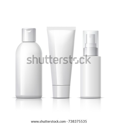 set of cosmetic products on a white background. Cosmetic package collection for cream, soups, foams, shampoo. Object, shadow, and reflection on separate layers. 3D illustration.