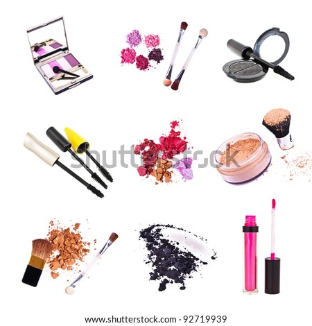 set of cosmetics isolated on white background