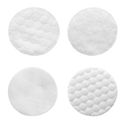 Set of cotton pads on white background, top view