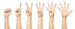 Set of counting female hand sign isolated on white