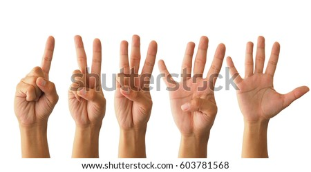 Set of counting hand sign isolated on white background Foto d'archivio ©