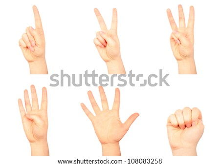 Set of counting human hands isolated on white background