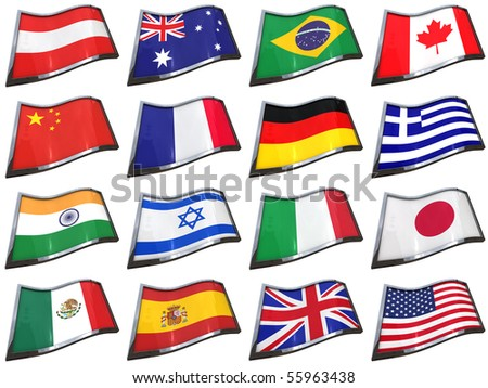 Set of 16 country flags over white background - clipping path included