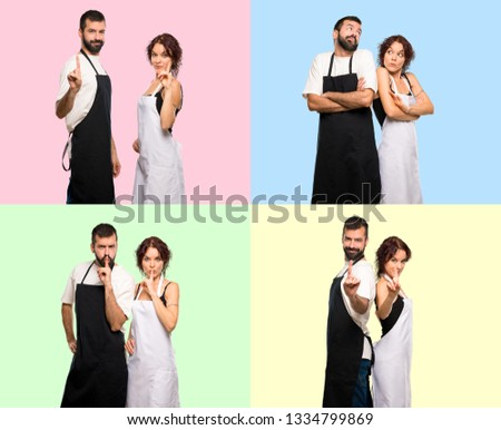 Set of Couple of cooks making unimportant gesture, silence gesture and counting one on colorful background #1334799869