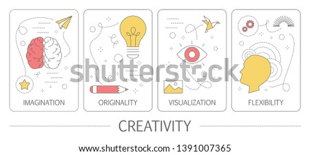 Set of creativity vertical banners. Idea of originality, inspiration and flexibility. Creative mind and innovation concept. Isolated flat  illustration