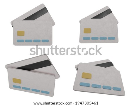 Set of 4 credit card icons from different angles. 3D rendering are stylized as objects neatly modeled from plasticine with smoothed corners, muted colors and a surface with the maker's fingerprints. Photo stock ©