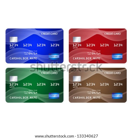 Set of credit cards in 4 different colors. Raster version of the loaded vector.