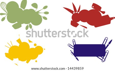Set of culinary labels on white background