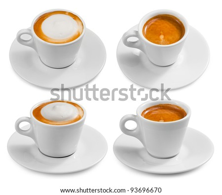 Set of cups with coffee isolated on white background.