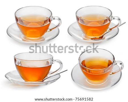 Set of cups with tea isolated on white background.