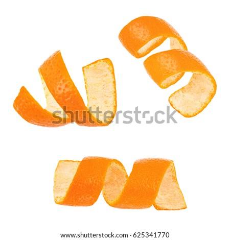 Set of curl mandarin peel isolated on white background #625341770
