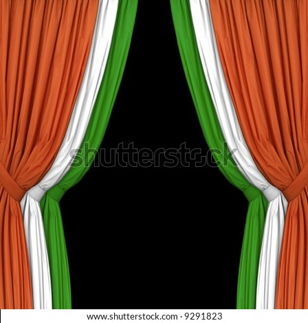 Set of curtains in the irish flag colors. Perfect for presenting an Irish theme, especially for St. Patrick's Day