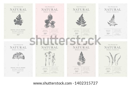 Set of customizable labels of Natural organic herbal products. Vintage packaging design collection for Cosmetics, Pharmacy, healthy food. Dried leaves, real herbarium