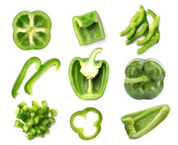 Set of cut fresh green bell peppers on white background, top view