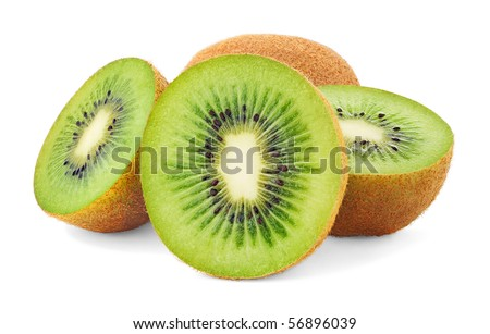Set of cut kiwis isolated on white