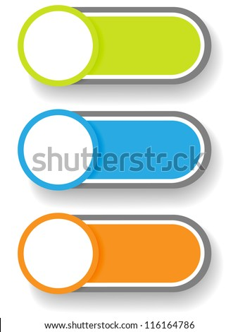 Set 1 of cute and colorful circle with shadow over cylinder label or sticker with shadows, ready for your text, as web buttons, labels, tags or stickers.