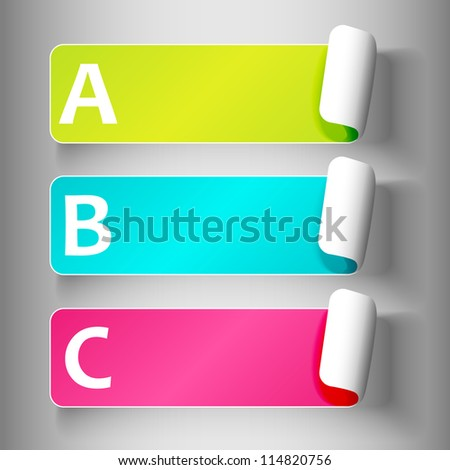 Set 3 of cute and colorful peeling off label or sticker in fun colors with shadows, big A,B,C, letters in white, over light grey gradient background, ready for your text.