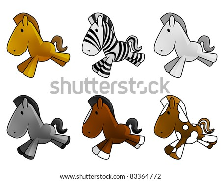 Set of cute baby horses shine and glossy, isolated