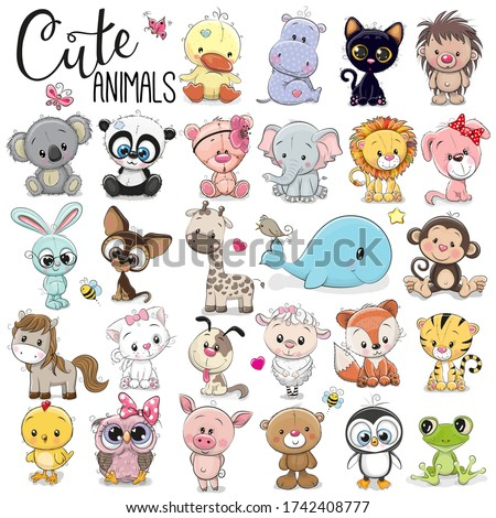 Set of Cute Cartoon Animals on a white background Photo stock ©
