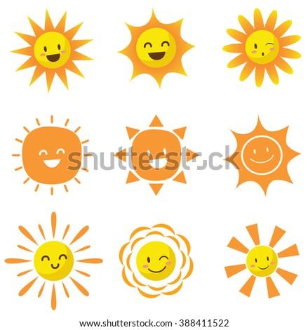 set of cute cartoon sun