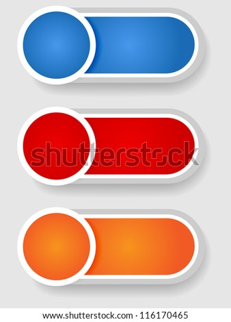 Set 2 of cute circle with shadow over cylinder label or sticker with shadows, gradient colors, ready for your text, as web buttons, labels, tags or stickers.