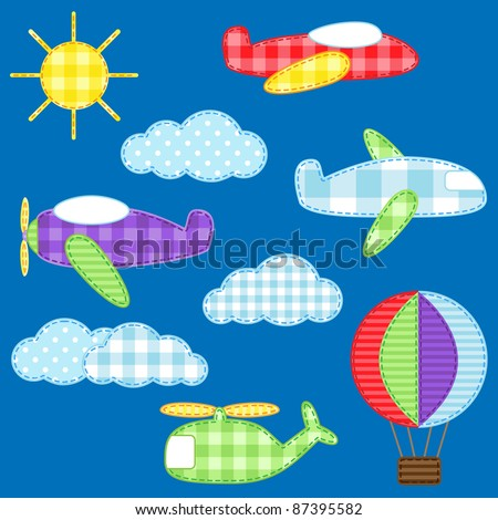 Set of cute colorful aircraft vehicles. Raster version.
