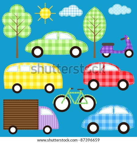 Set of cute colorful transport vehicles. Raster version. - stock photo
